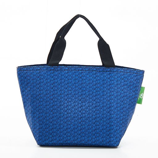 Eco Chic - Cool Lunch Bag - C13NY - Navy Disrupted Cubes
