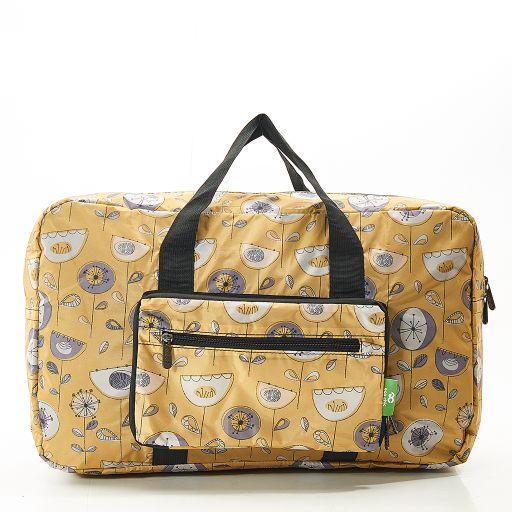 Eco Chic - Foldable Holdall (weekendtas) - D17MD - Mustard - 1950's Flower