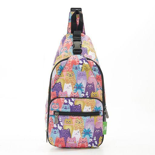 Eco Chic - Cross Body Bag - I09ME - Multiple cats