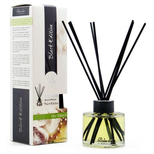 Boles d'olor geurstokjes Black Edition + 125 ml geurolie - Witte Bloemen (Boles d'olor)