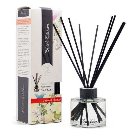 Boles d'olor geurstokjes Black Edition + 125 ml geurolie - Witte Jasmijn