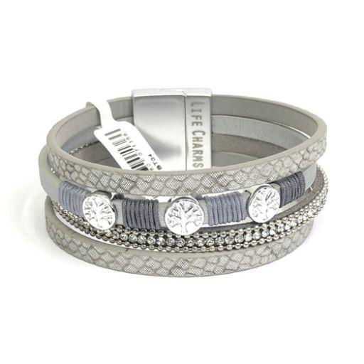480304 - Life Charms - BT04 - 4 Row Platinum Wrap bracelet