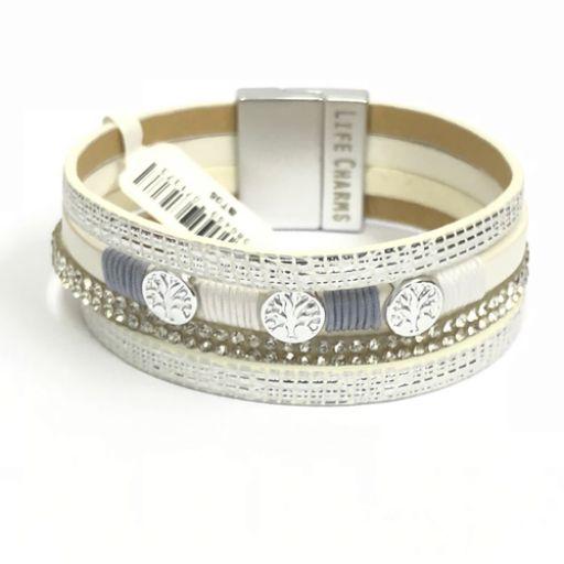 480305 - Life Charms - BT05 - 4 Row Silver Wrap bracelet