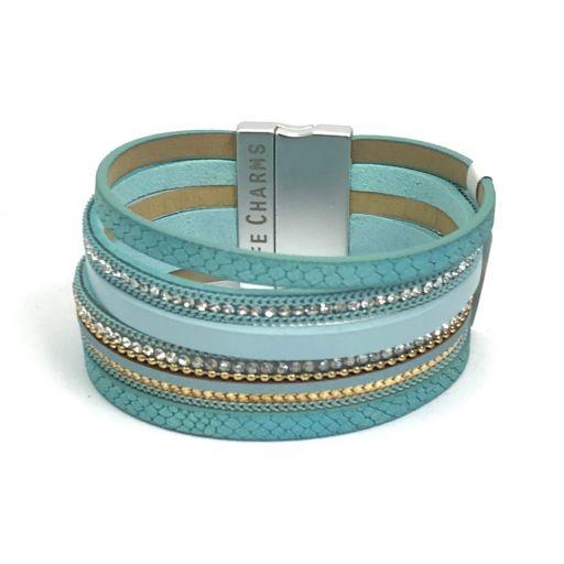 480313 - Life Charms - BT13 - 6 Row Aqua Wrap bracelet
