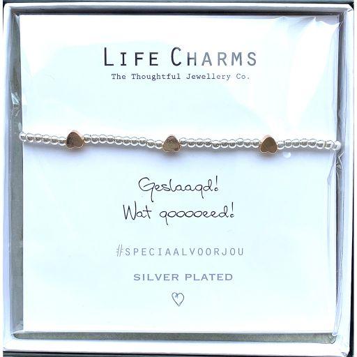 Life Charms - Armband -  Geslaagd!  Wat gooooeed!  3 hartjes