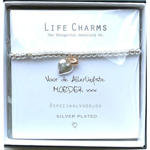 Life Charms - Armband -  Voor de Allerliefste Moeder xxx - 2 hartjes zilver en verguld goud