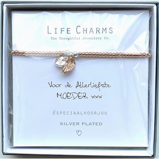 Life Charms - Armband -  Voor de Allerliefste Moeder xxx - engelvleugel en hartje