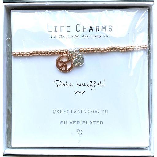 Life Charms - Armband - Verguld -  Dikke knuffel!  xxx - Peace teken en hartje