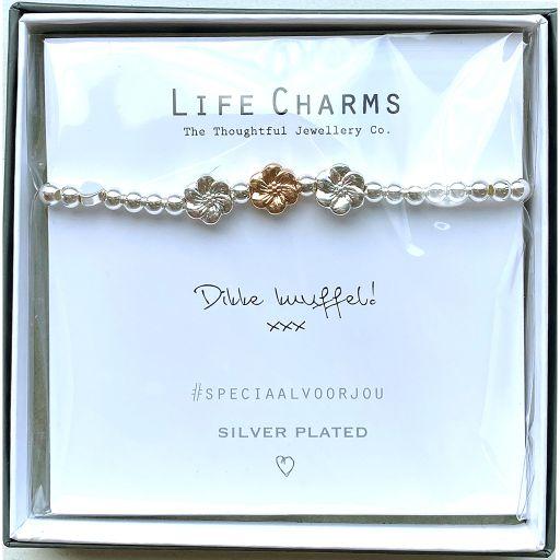 Life Charms - Armband - Verzilverd -  Dikke knuffel!  xxx -  Bloem