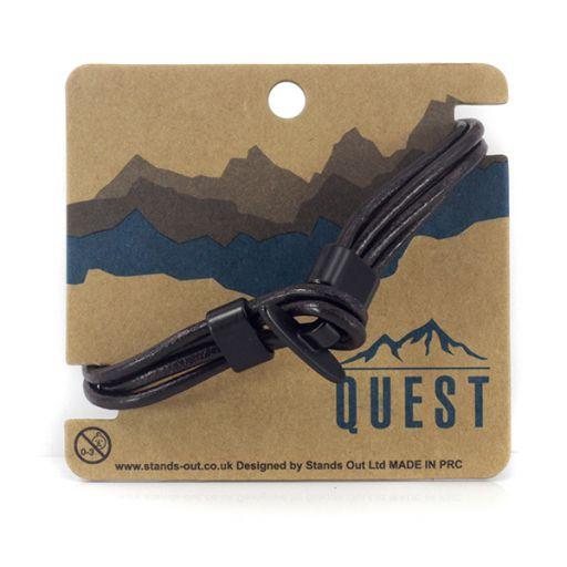 Quest armband Leder Q22 - 3 bandjes met haaksluiting