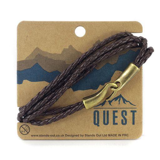 Quest armband Leder Q10 - donkerbruine meerdere bandjes met haaksluiting