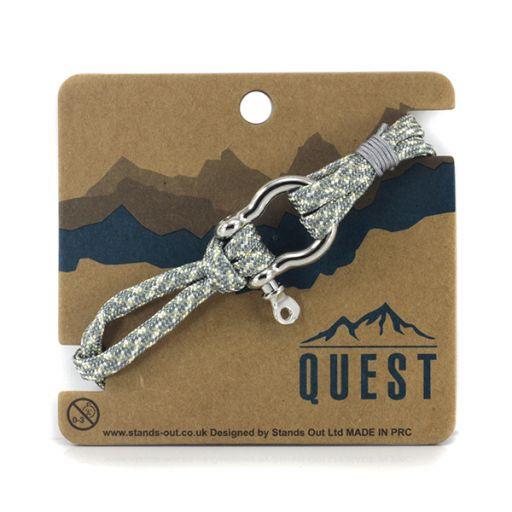 Quest armband Leder Q13 - Grijs/wit/groen band met schroefsluiting