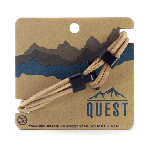 Quest armband Leder Q14 - bruine touw band met haaksluiting