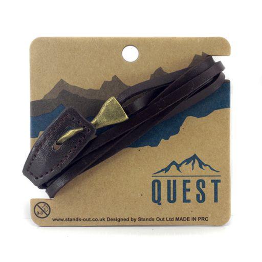 Quest armband Leder Q15 - leren donkerbruine band met haaksluiting