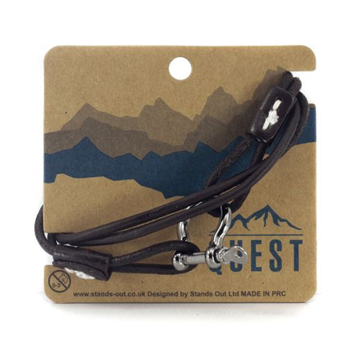 Quest armband Leder Q18 - Donkerbruine band met schroefsluiting