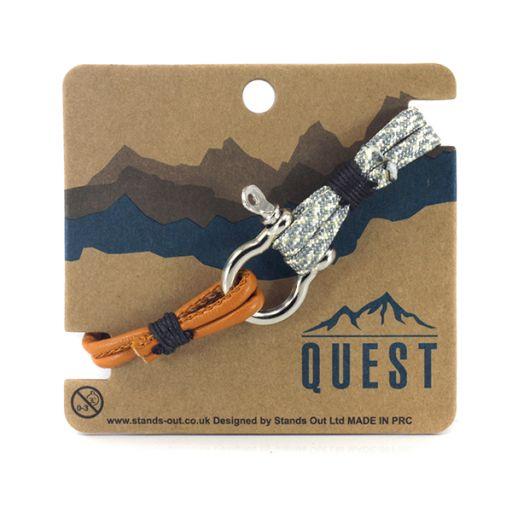 Quest armband Leder Q19 - Grijs/wit/oranje band met schroefsluiting