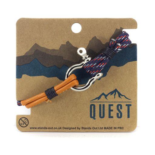 Quest armband Leder Q23 - Rood/wit/rood/oranje band met schroefsluiting