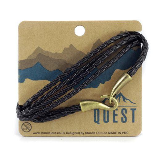 Quest armband Leder Q3 - zwart meerdere bandjes met haaksluiting