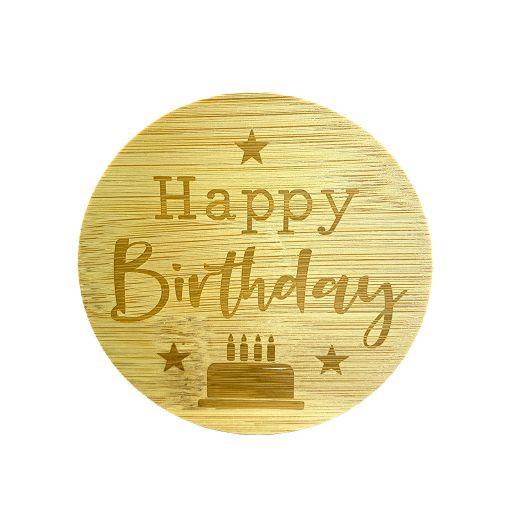 Bamboe deksel - Happy Birthday
