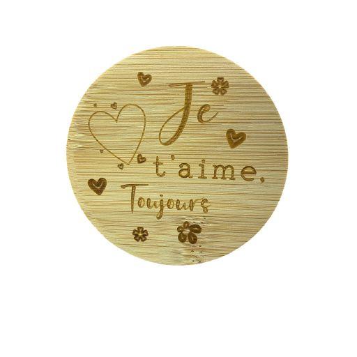 Couvercle en bambou - Je t'aime, toujours
