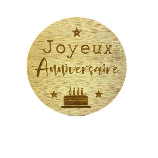 Couvercle en bambou - Joyeux anniversaire