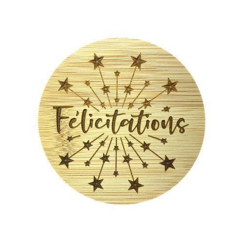 Couvercle en bambou - Félicitations