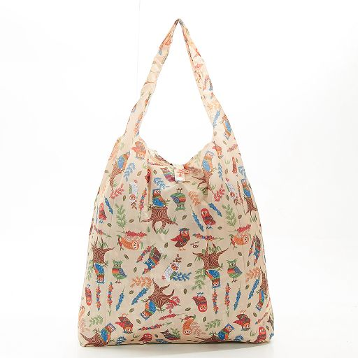 Eco Chic - Foldaway Shopper - A07BG - Beige - Owl