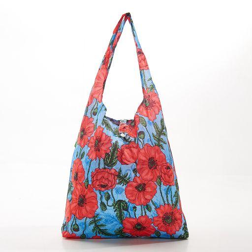 Eco Chic - Foldaway Shopper - A09BU - Blue - Poppies
