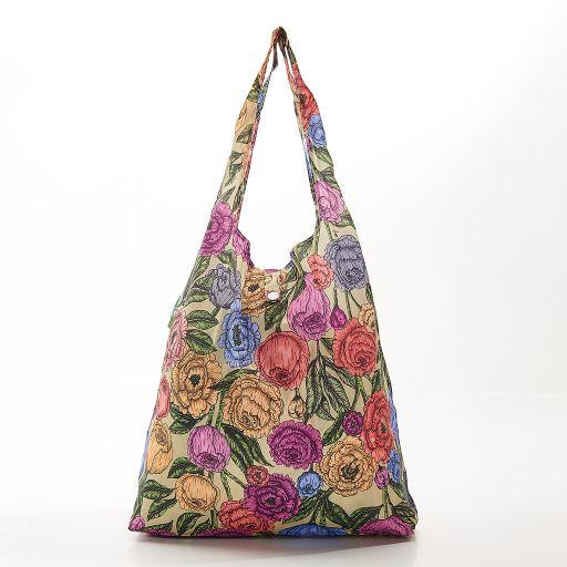 Eco Chic - Foldaway Shopper - A11GN - Green - Peonies