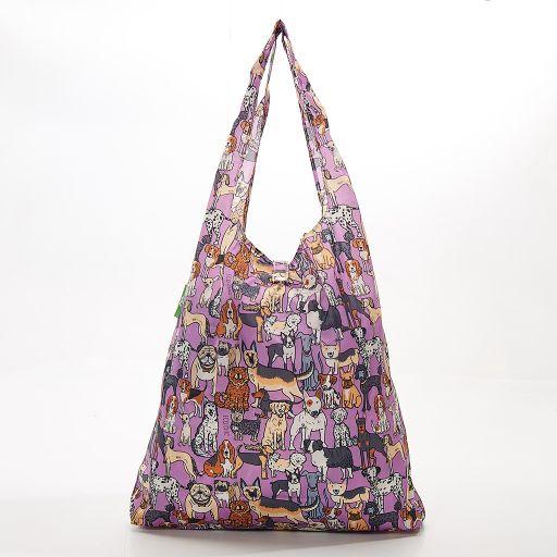 Eco Chic - Foldaway Shopper - A33LC -  Lilac - Dogs