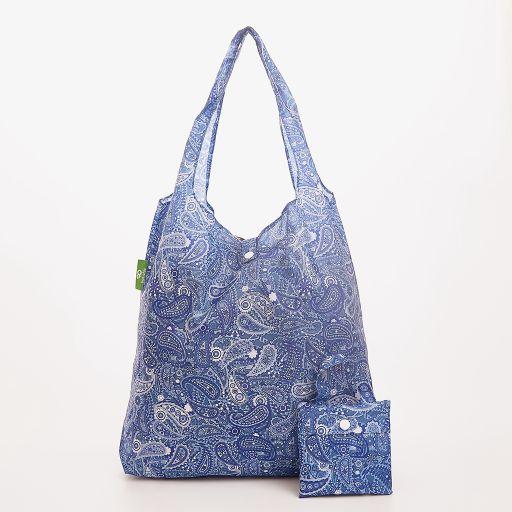 Eco Chic - Foldaway Shopper - A39BU - Blue - Paisley