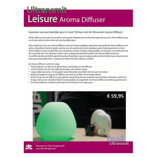 IF07 - Informatiekaart met koord - Aroma Diffuser Leisure