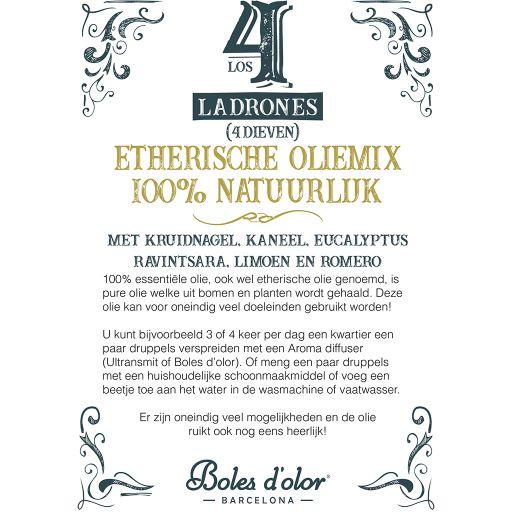 Info kaart Etherische olie - Boles d'olor - 4 DIEVEN (Los 4 Ladrones) plexiglas standaard A5
