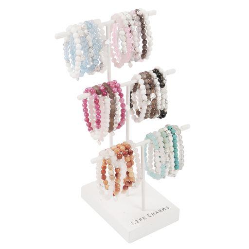 Tafeldisplay gevuld met Life Charms - Arm Candy Bracelets - halfedelsteen  6 x 6 stuks