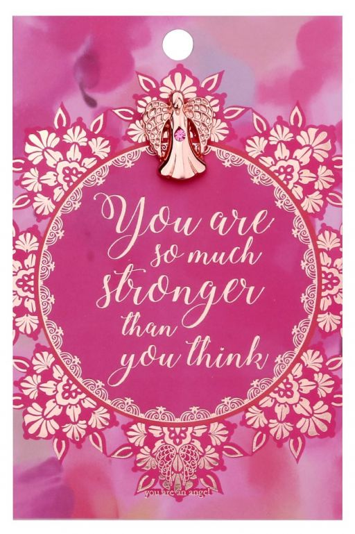 120726 - You are an Angel - ANCP026 - Kaartje met engeltje op pin - Stronger than you think