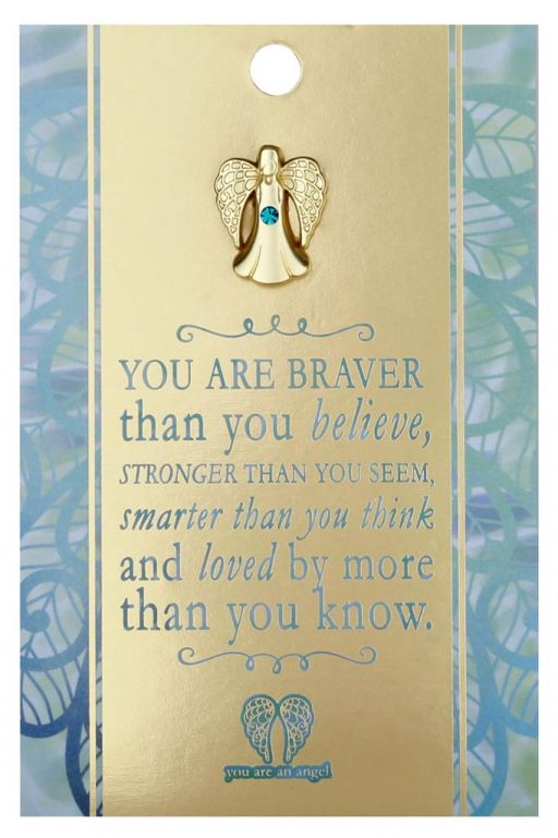 120734- You are an Angel - ANCP034 - Kaartje met engeltje op pin - Braver, Stronger, Smarter