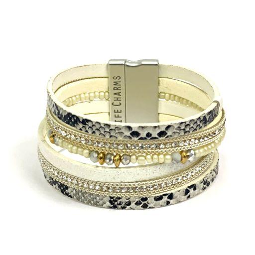 480310 - Life Charms - BT10 - 6 Row Snakeskin Print Wrap bracelet
