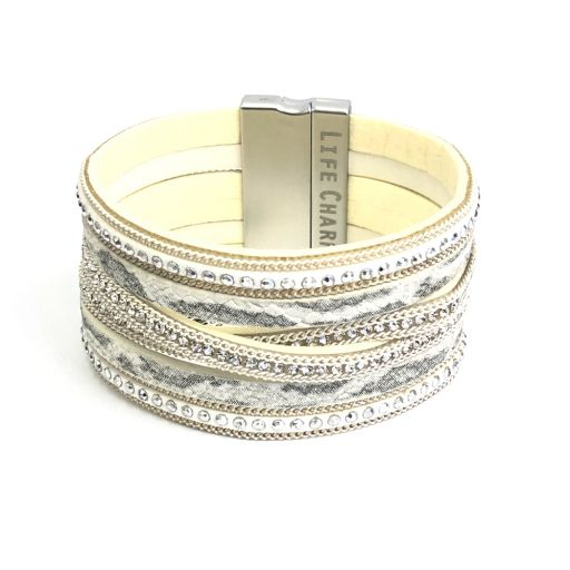 480318 - Life Charms - BT18 - 6 Row White Snakeskin Wrap bracelet