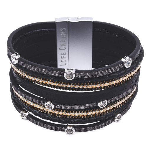 480323 - Life Charms - BT23 - 8 Row Black, Silver and Gold Wrap bracelet
