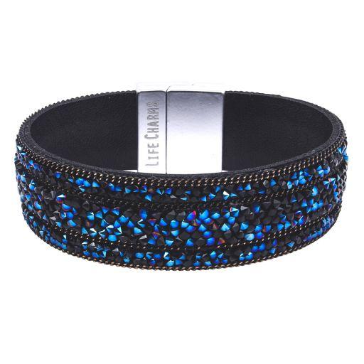 480326 - Life Charms - BT26- Black Midnight Blue Beaded Wrap Bracelet