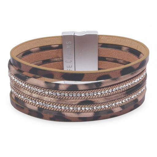 480330 - Life Charms - BT30 - 7 Row Animal Print With Zirkonia Wrap bracelet