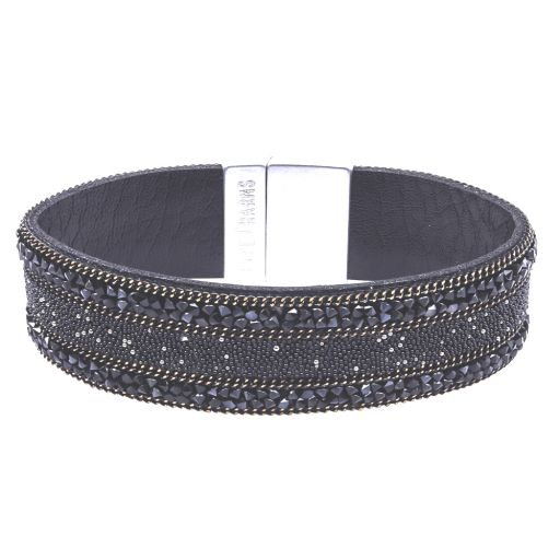 480334 - Life Charms - BT34 - Black Colour With Beads and Chain Wrap bracelet