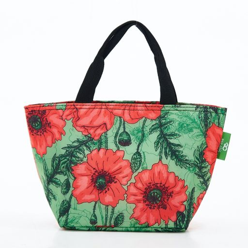 Eco Chic - Cool Lunch Bag - C09GN - Green Poppies