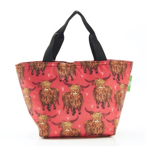 Eco Chic - Cool Lunch Bag - C25RD - Red Highland Cow