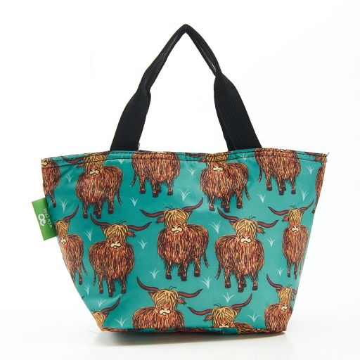 Eco Chic - Cool Lunch Bag - C25TL - Teal Highland Cow