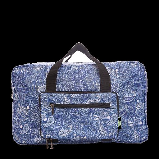 Eco Chic - Foldable Holdall (weekendtas) - D31BU - Blue - Paisley