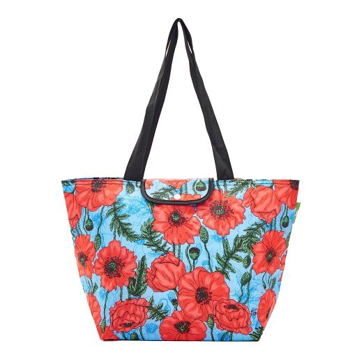 Eco Chic - Large Cool Bag - E05BU - Blue - Poppies