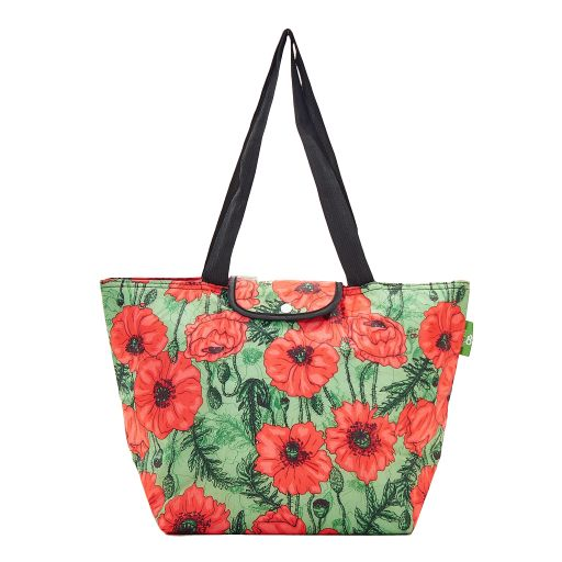 Eco Chic - Large Cool Bag - E05GN - Green - Poppies
