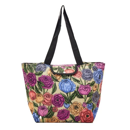 Eco Chic - Large Cool Bag - E06GN - Green - Peonies