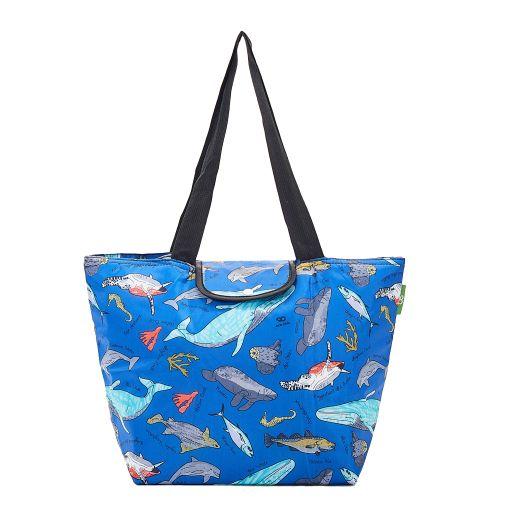 Eco Chic - Large Cool Bag - E07BU - Blue - Sea Creatures